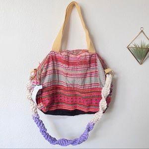 Free People Embroidered Tote Denim Vintage Bag